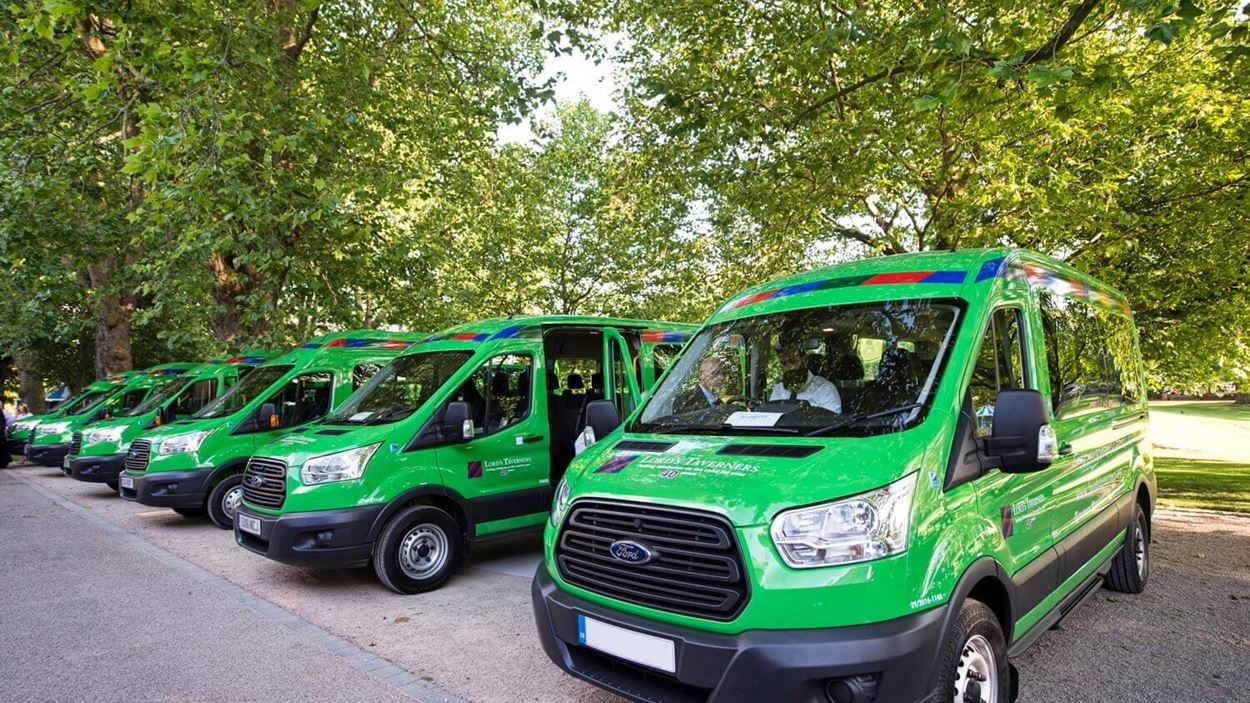 Row of green minibuses