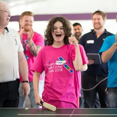 Sean celebrates at the 2018 table cricket finals day