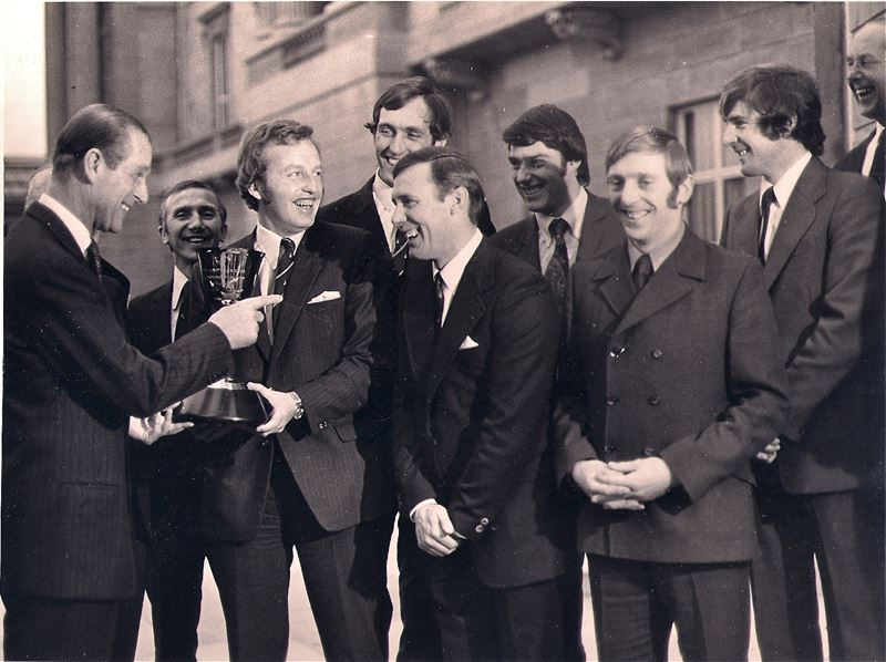HRH The Duke of Edinburgh presents Hampshire with the Lord's Taverners trophy in 1973.jpg